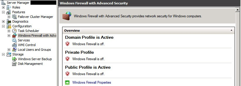 Deactivate Firewall Server 2008