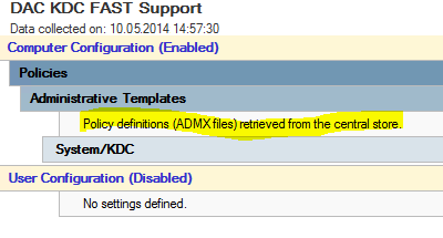 group policy for KDC claim support