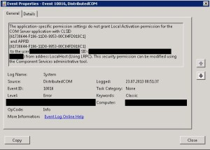 Event ID 10016 DCOM Error Message