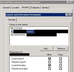 SharePoint 2010: Event ID 10016 DCOM Security Policy