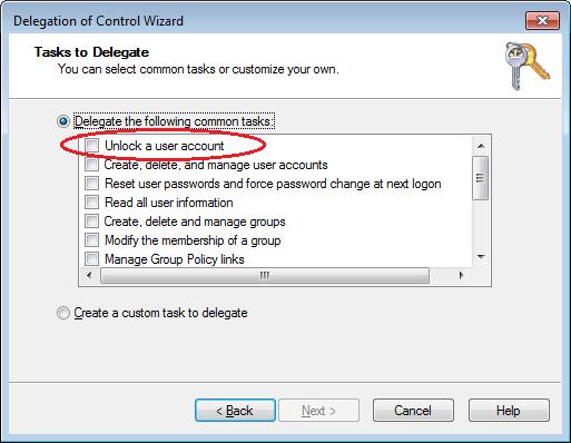 AD-Delegation-Wizard- unlock a user account