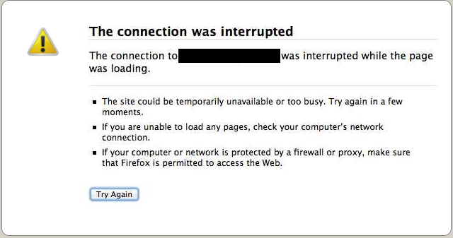 Mozilla Firefox – Error: The connection was interrupted