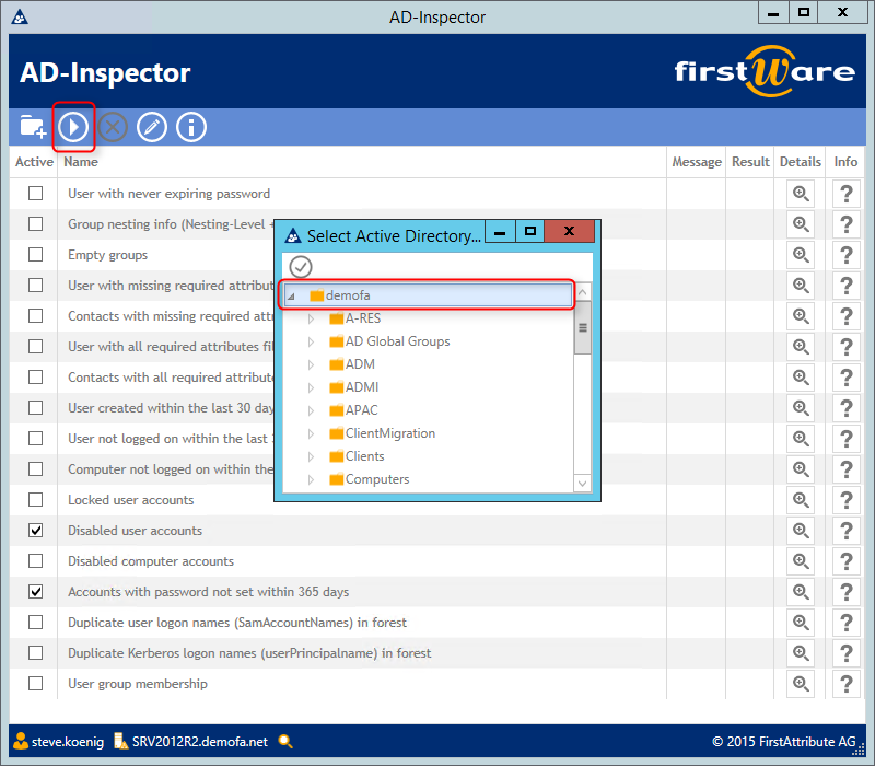 FirstWare-AD Inspector Config